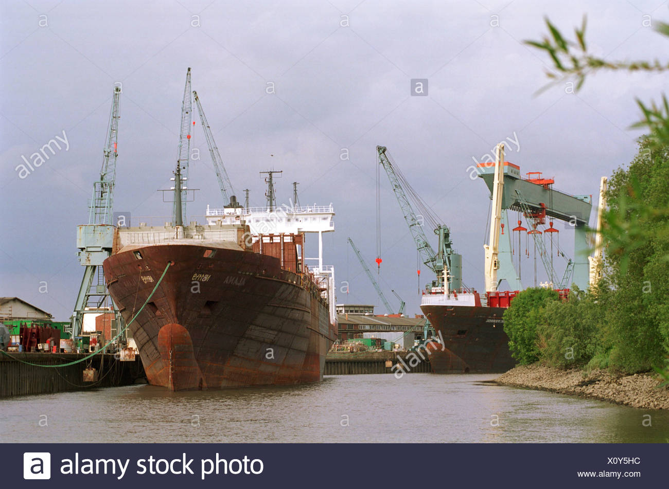 Sietas with ships in Finkenwerder - Stock Image
