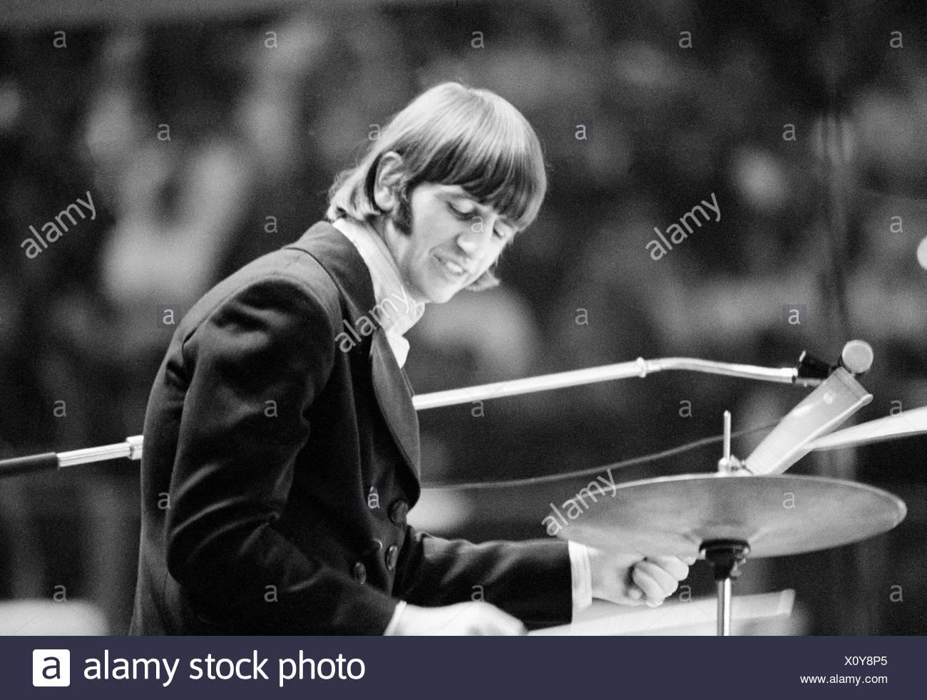 The Beatles music pop group band concert Germany Essen 1966 Ringo Starr drummer - Stock Image