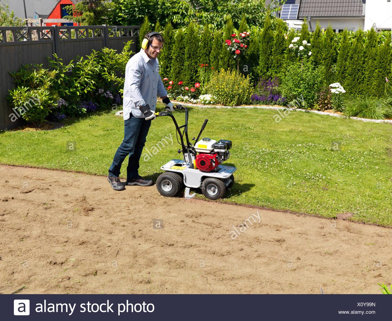 turf, lay, garden, man, sod cutter, lawn Stock Photo