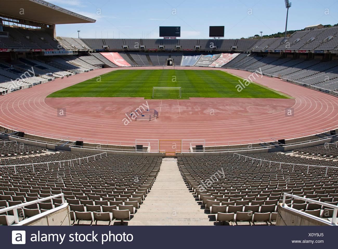Olympic Stadium Estadi Olímpic Lluís Companys, formerly known as the Estadi Olímpic de Montjuïc, on Montjuïc hill, Barcelona, S - Stock Image
