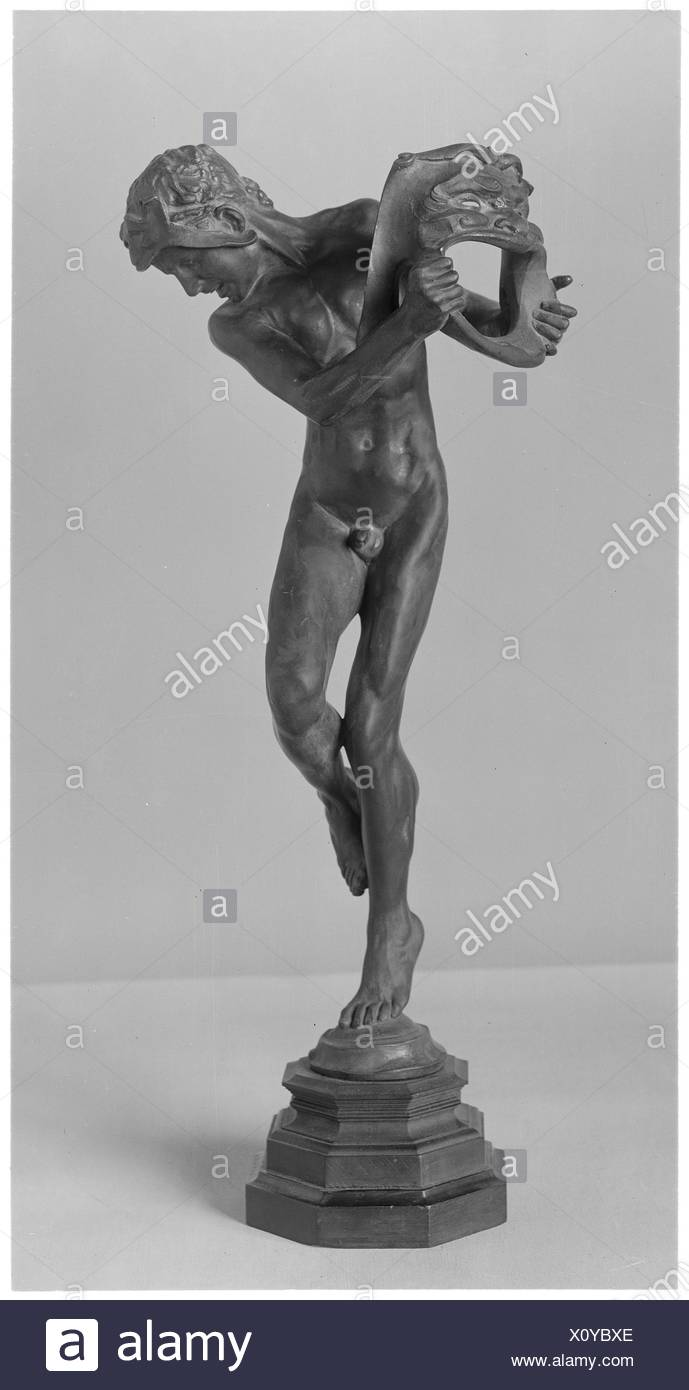 Comedy and Tragedy. Artist: Sir Alfred Gilbert (British, London 1854-1934 London); Date: 1892; Culture: British, London; Medium: Bronze, dark green - Stock Image