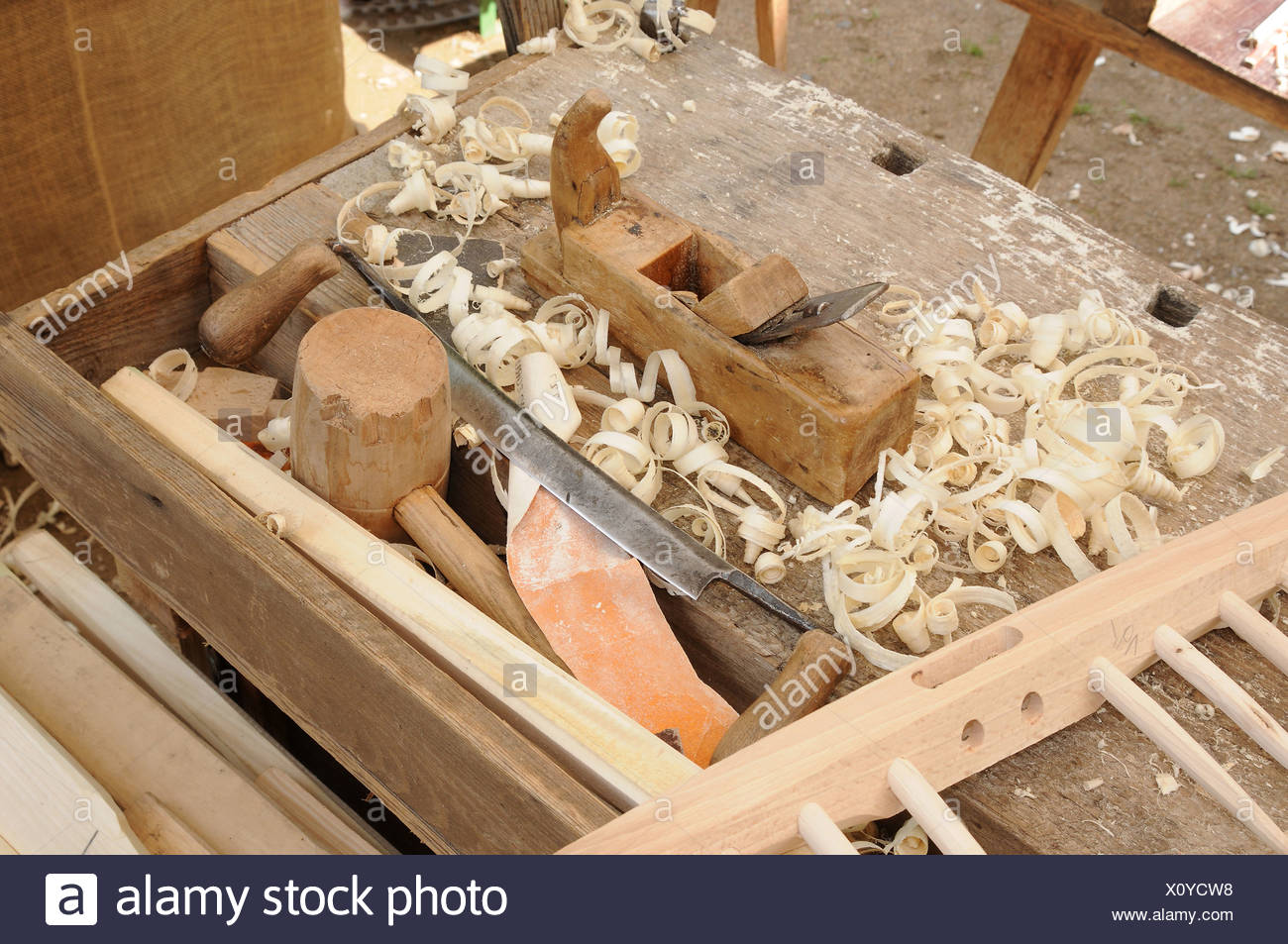 Tools in a carpenter's workshop - Stock Image