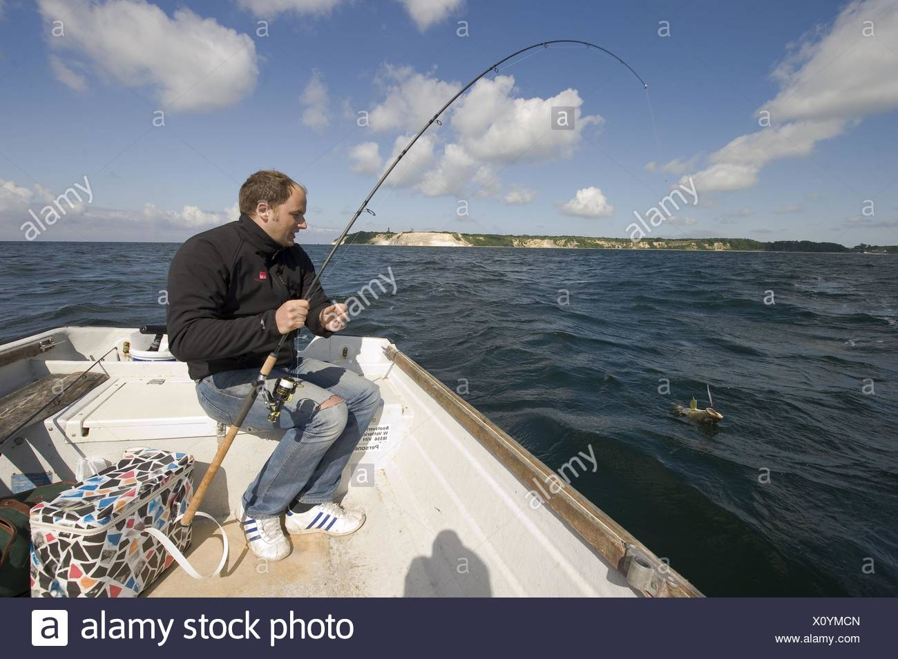 fisher with cod - Stock Image