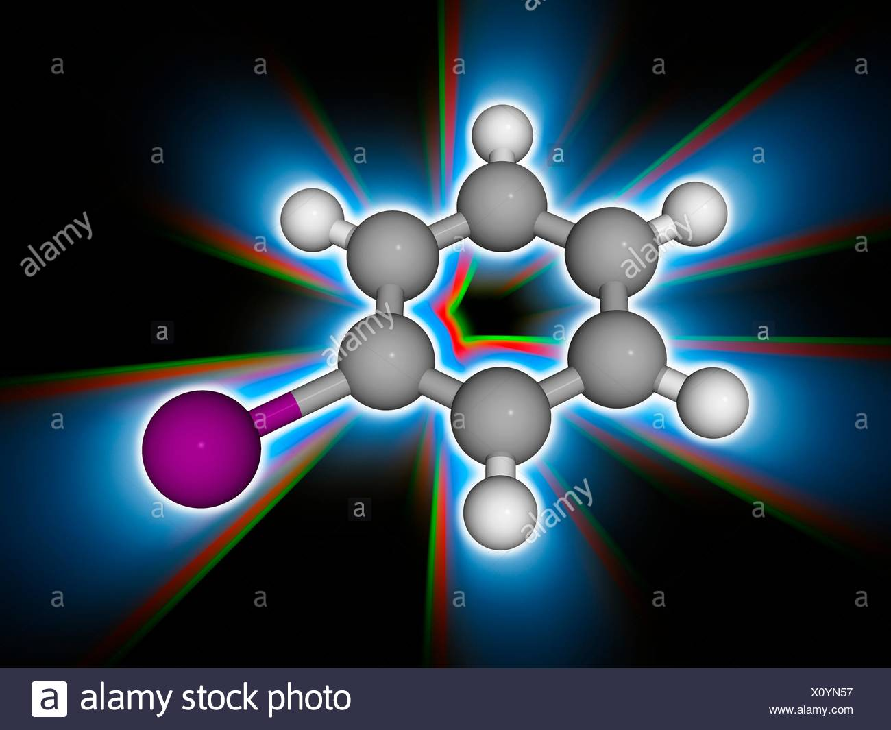 Iodobenzene. Molecular model of the organic aromatic compound iodobenzene (C6.H5.I), used as a synthetic intermediate in organic chemistry. Atoms are represented as spheres and are colour-coded: carbon (grey), hydrogen (white) and iodine (violet). Illustration. Stock Photo