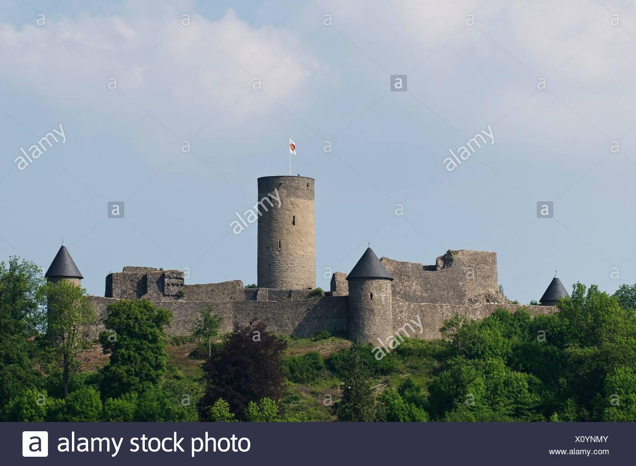 Nuerburg castle ruins, within the North Loop of the Nuerburgring named after it, Eifel, Adenau, Ahrweiler, Rhineland-Palatinate - Stock Image