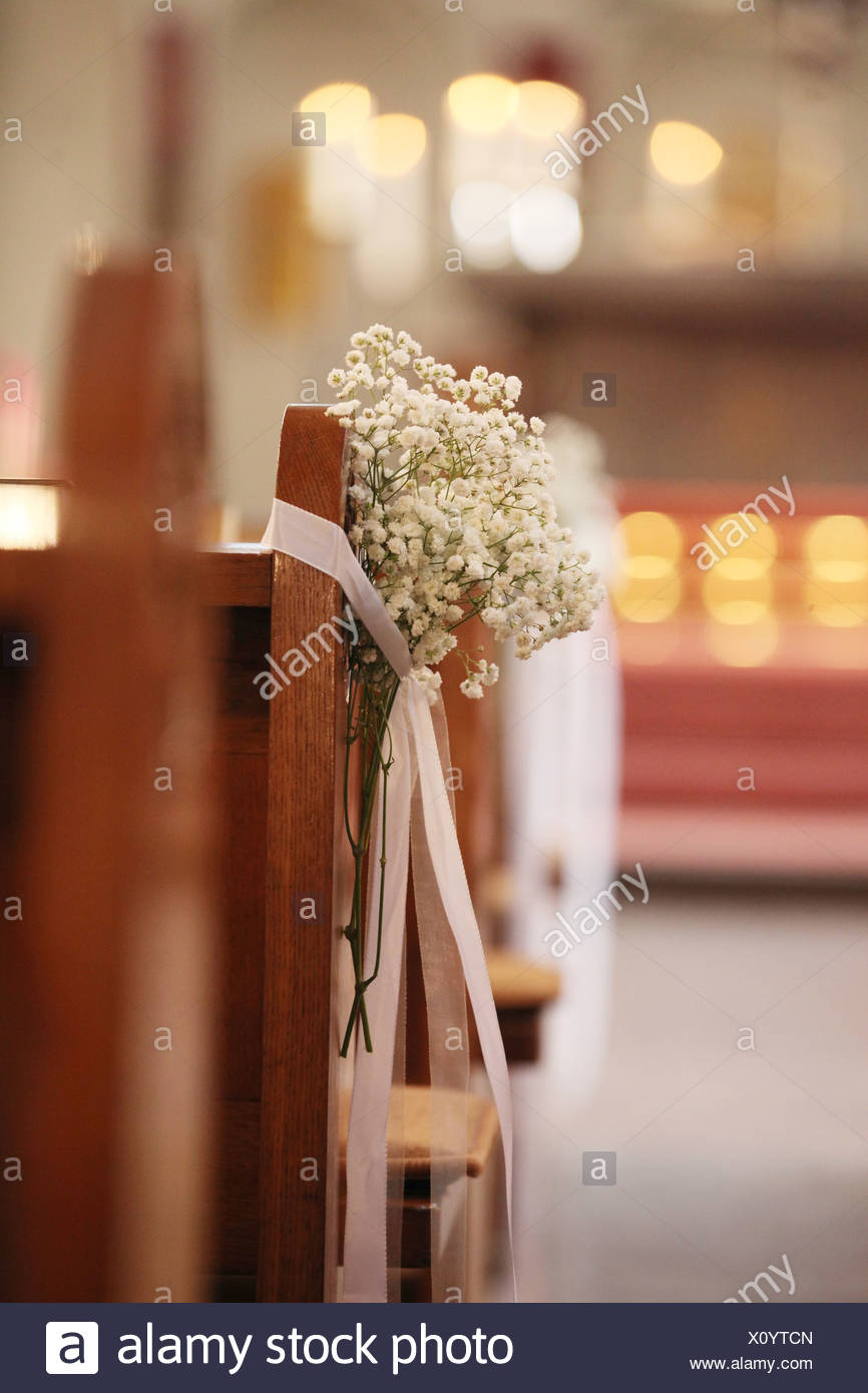 Floral arrangement, decorations in a church for a church wedding Stock Photo
