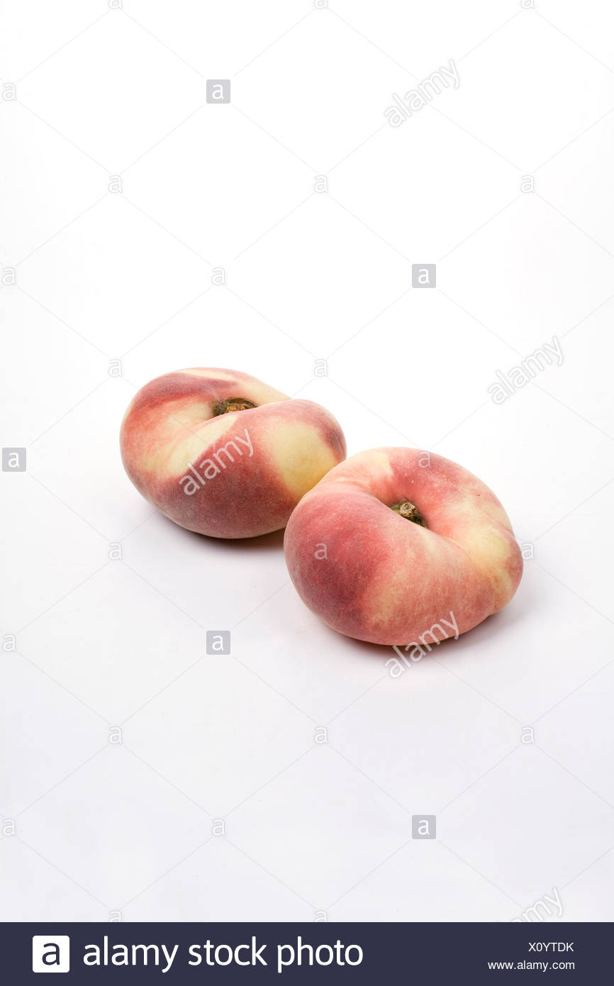Flat Doughnut peaches - Stock Image
