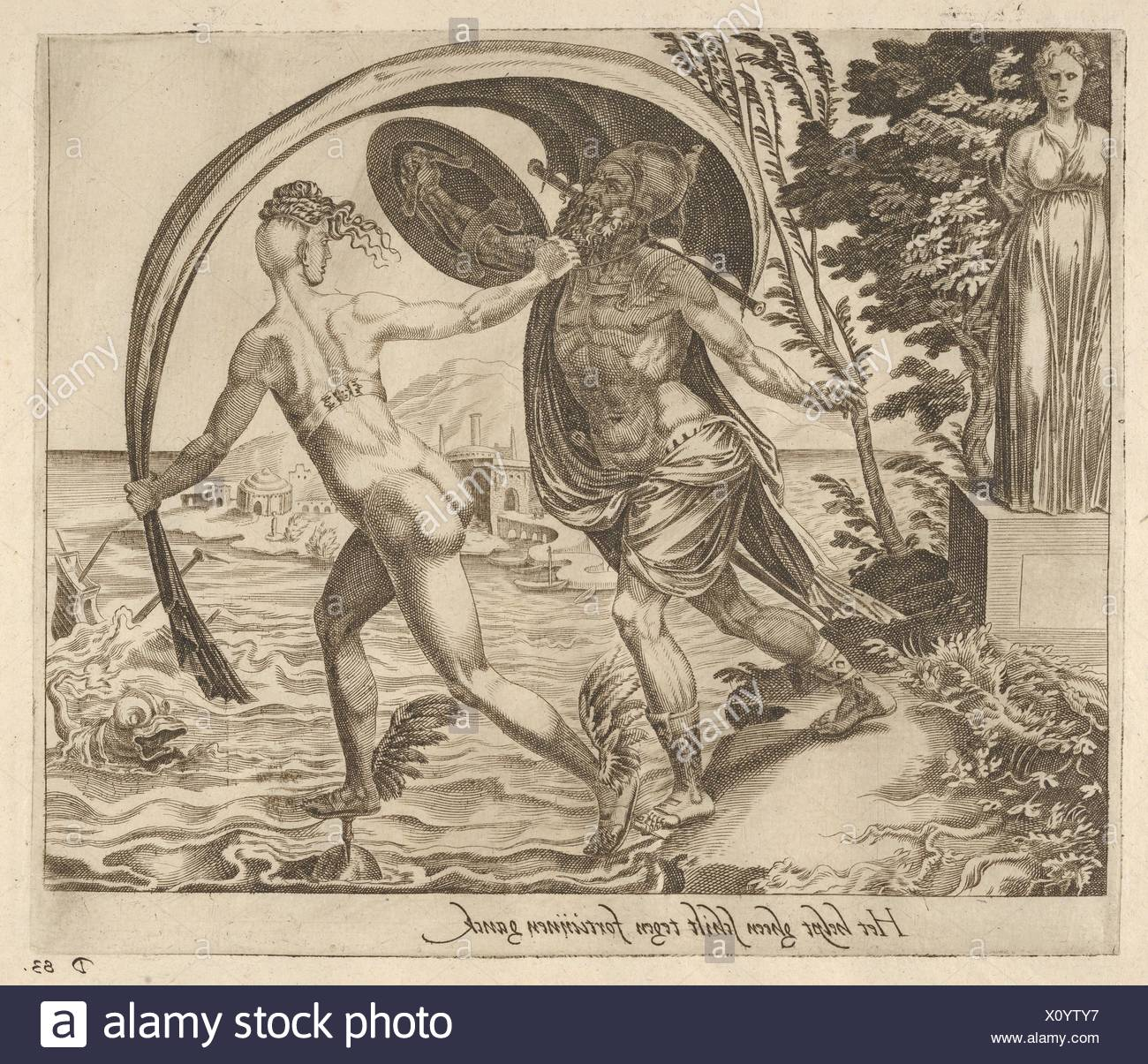 A Shield is of no Use when Fortune Turns Her Back from Six Sayings about Fortune. Artist: Dirk Volckertsz Coornhert (Netherlandish, Amsterdam - Stock Image