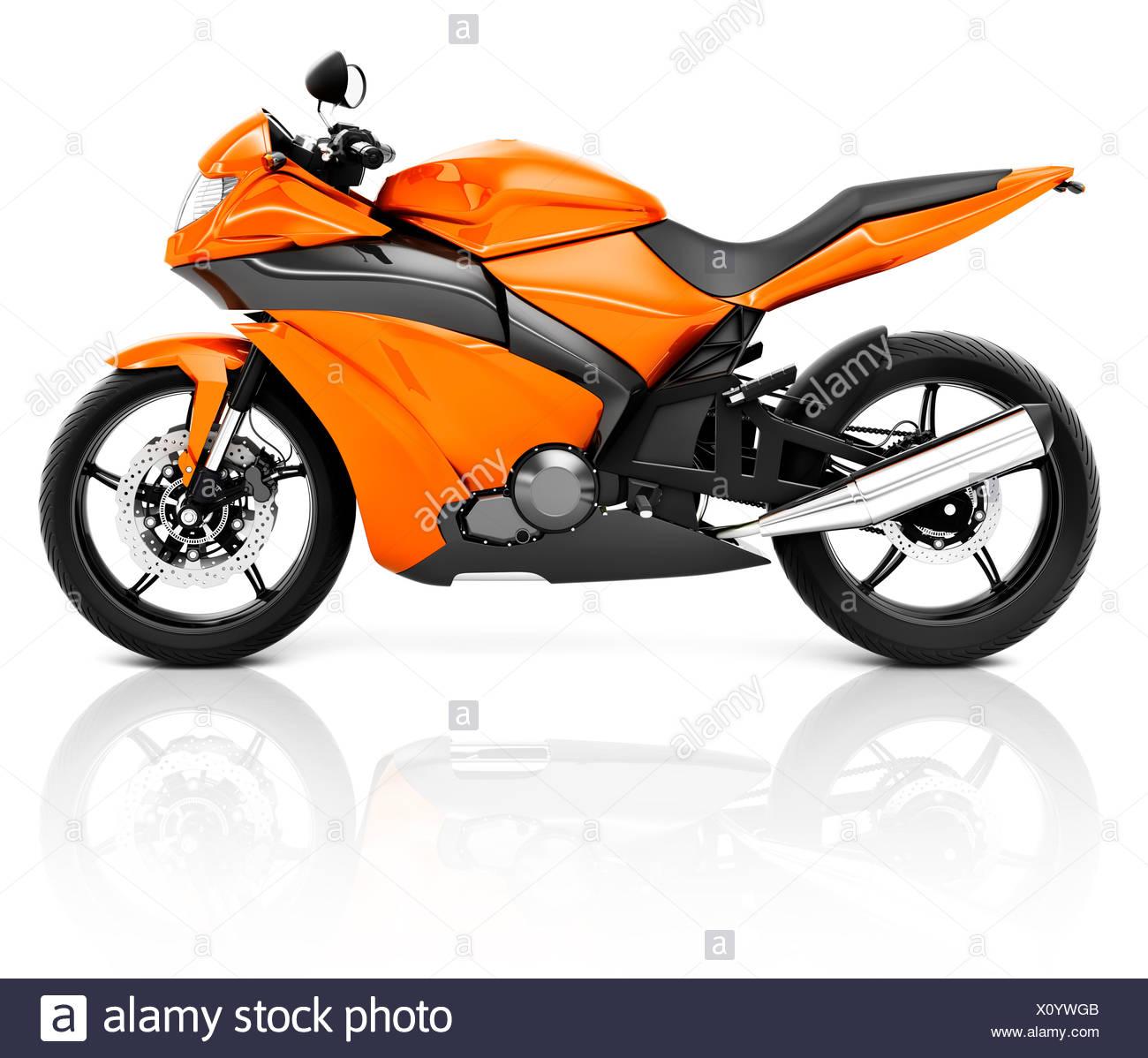 3D Image of an Orange Modern Motorbike - Stock Image