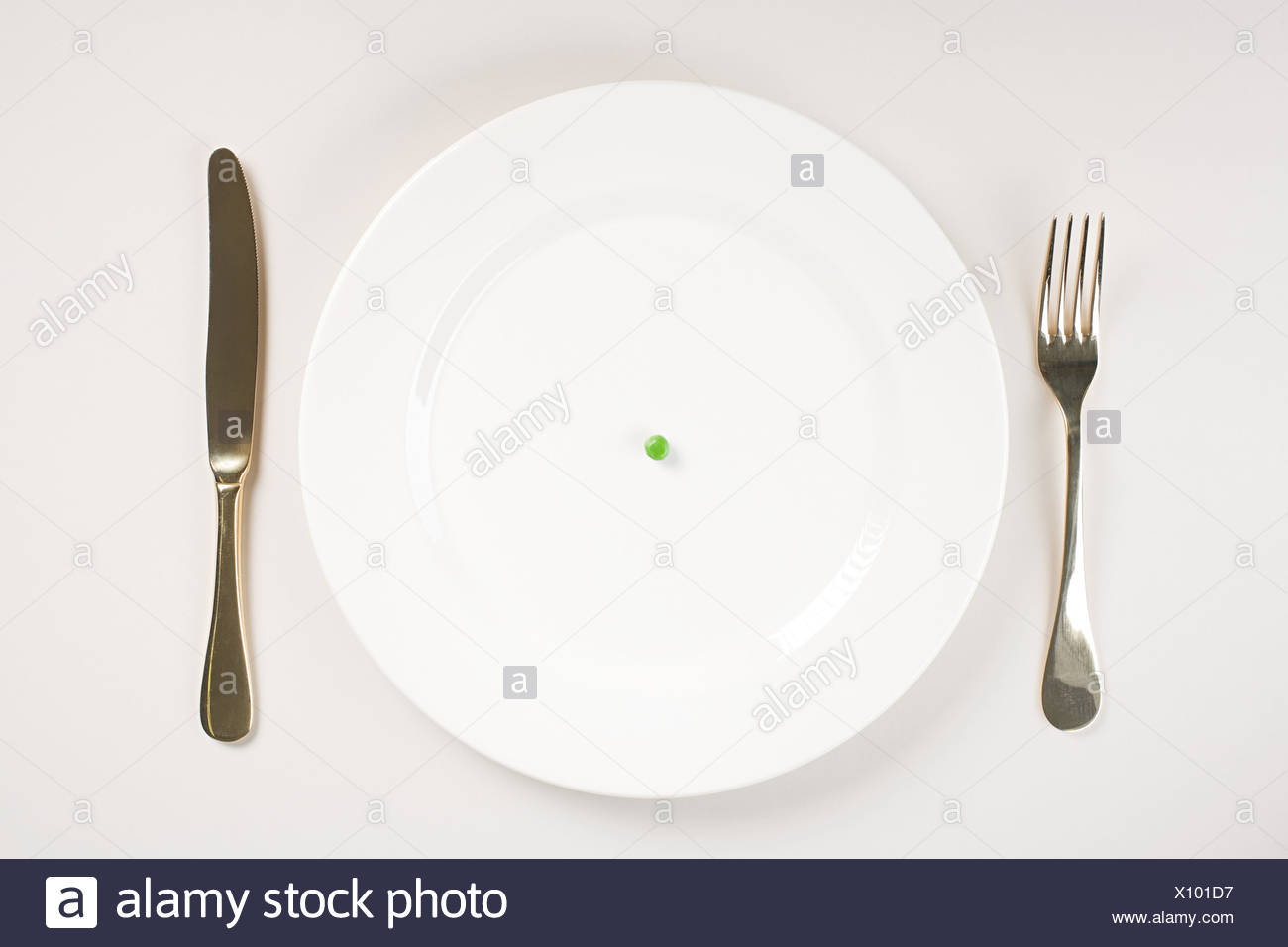 A pea on a plate - Stock Image