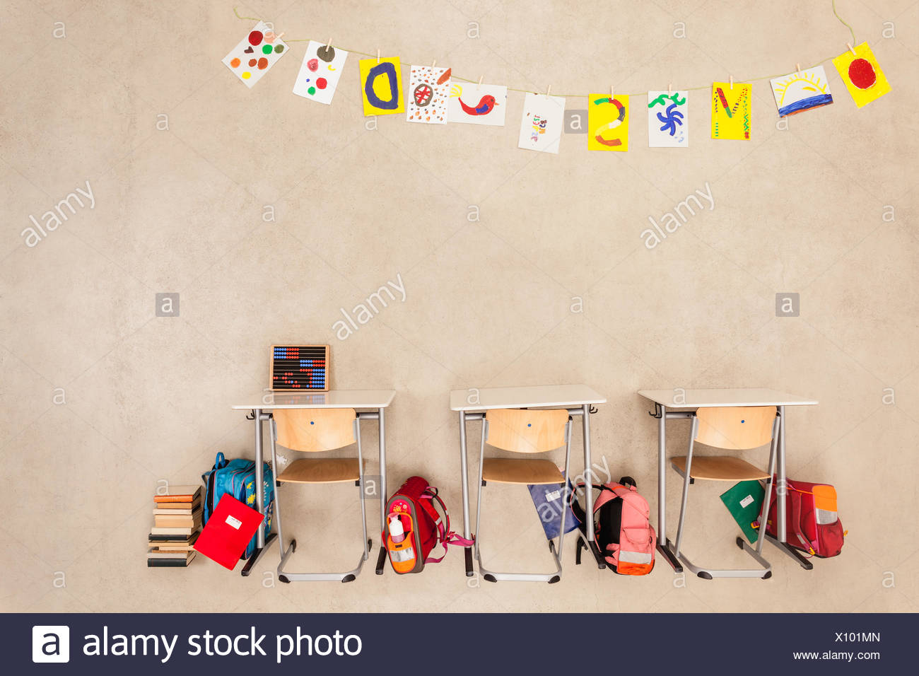 School things in class room - Stock Image