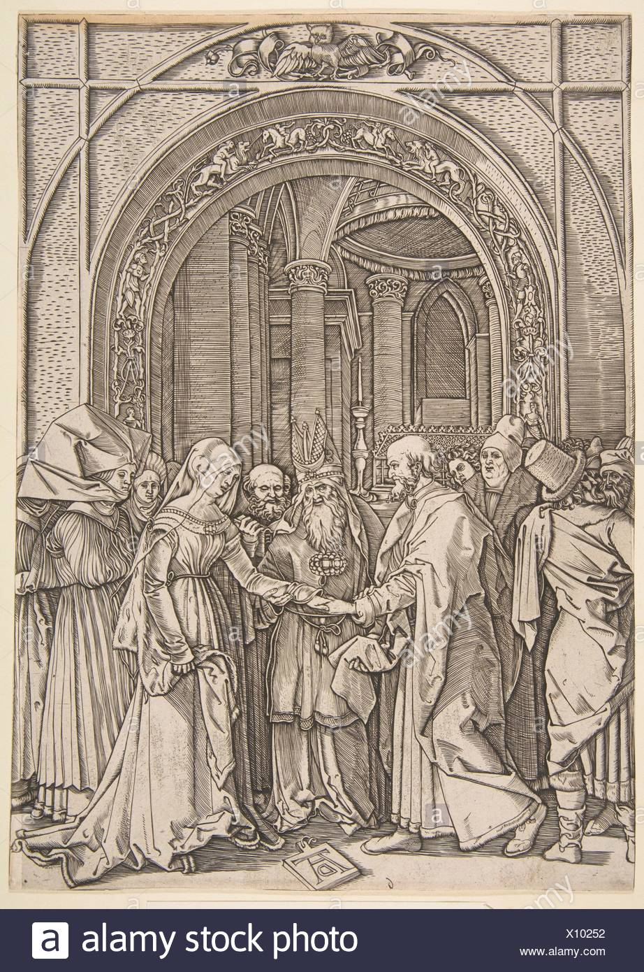 The Betrothal of the Virgin, from The Life of the Virgin (copy). Artist: After Albrecht Dürer (German, Nuremberg 1471-1528 Nuremberg); Artist: - Stock Image