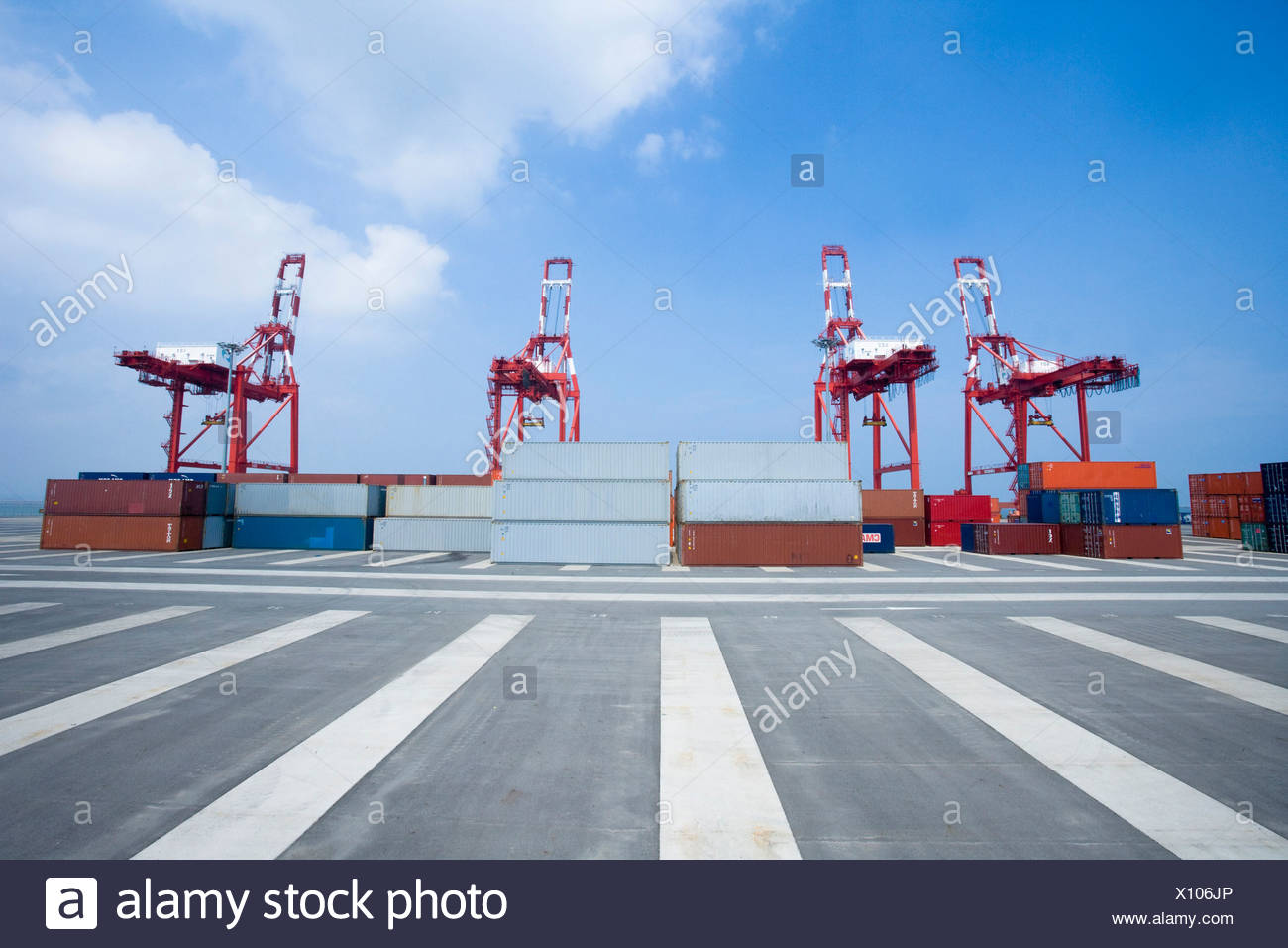 crane lift up container boxes - Stock Image