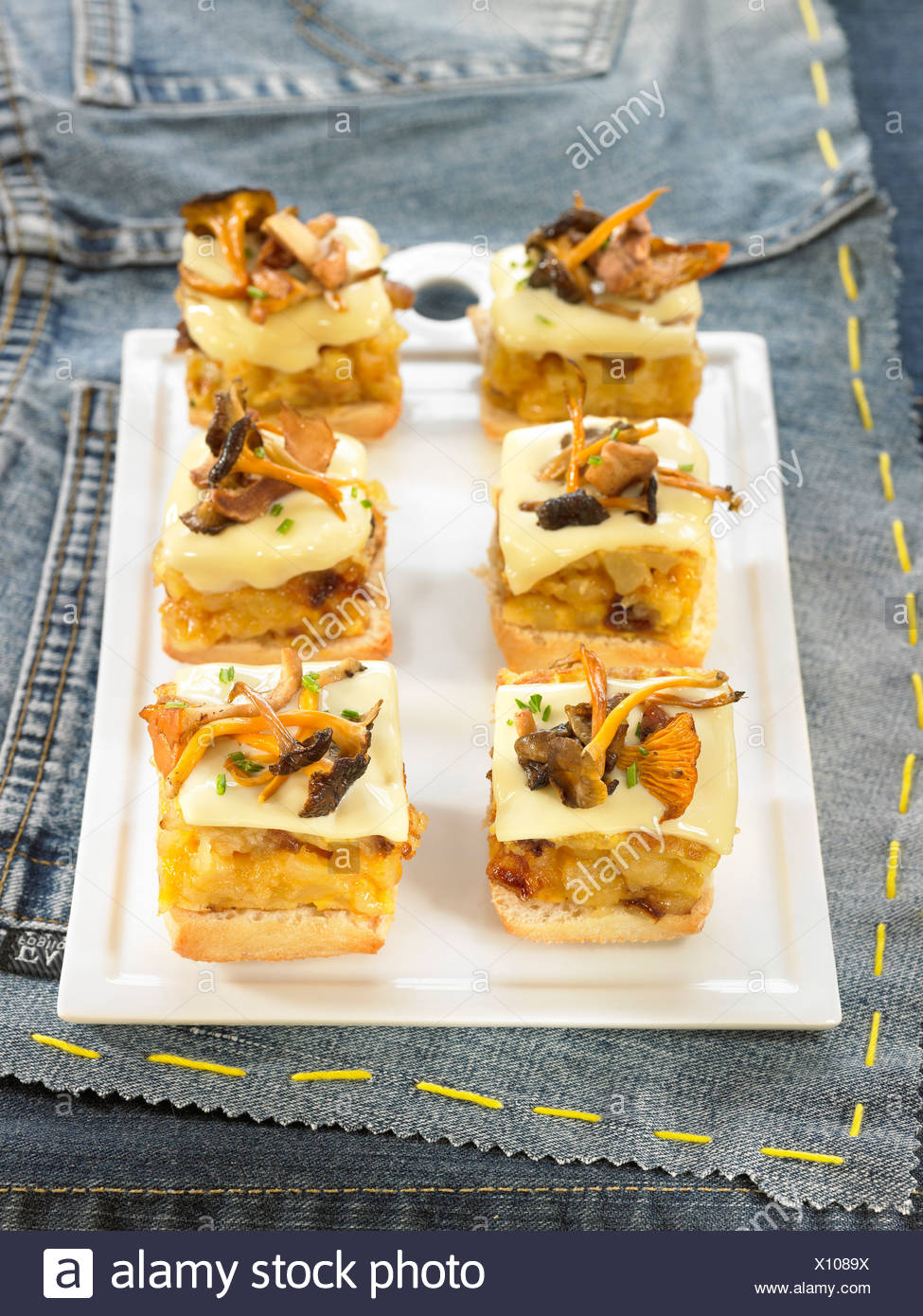 Mushroom,cheese and onion omelette - Stock Image