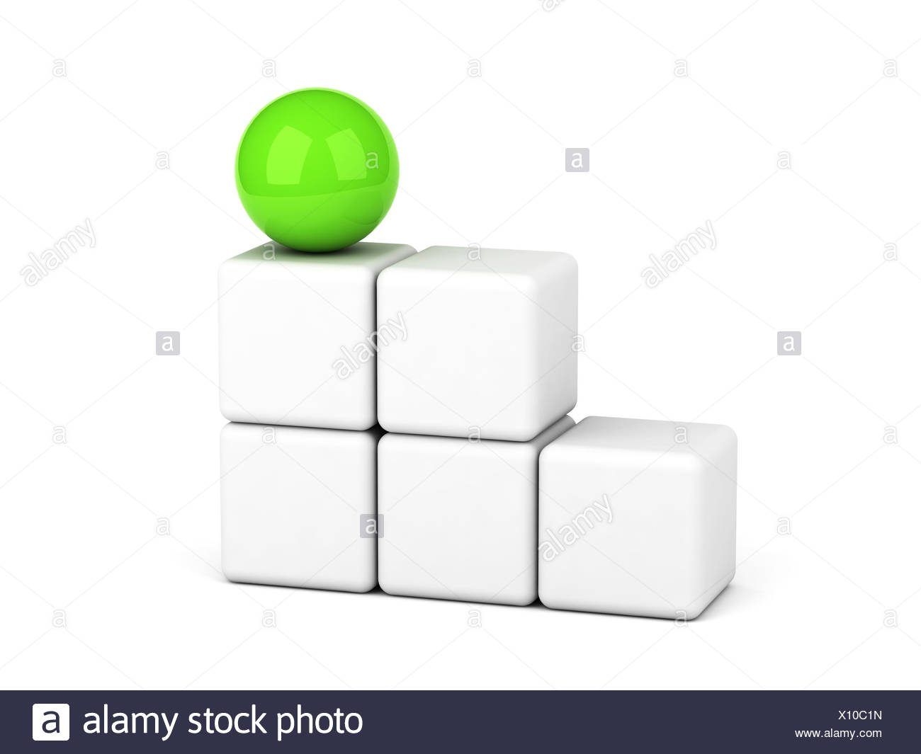 bright green sphere leadership concept - Stock Image