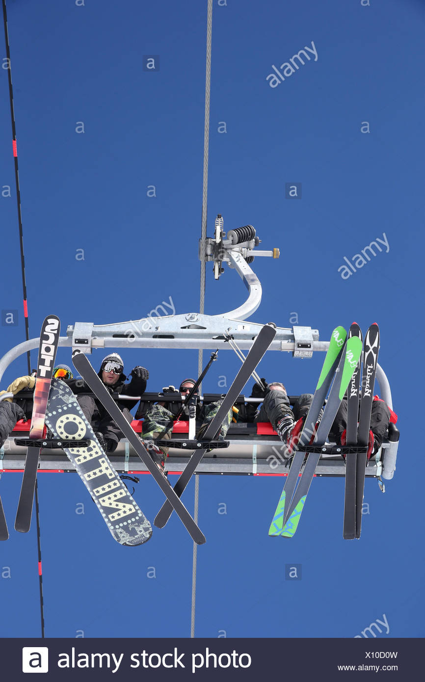 French alps. ski lift seen from below. - Stock Image