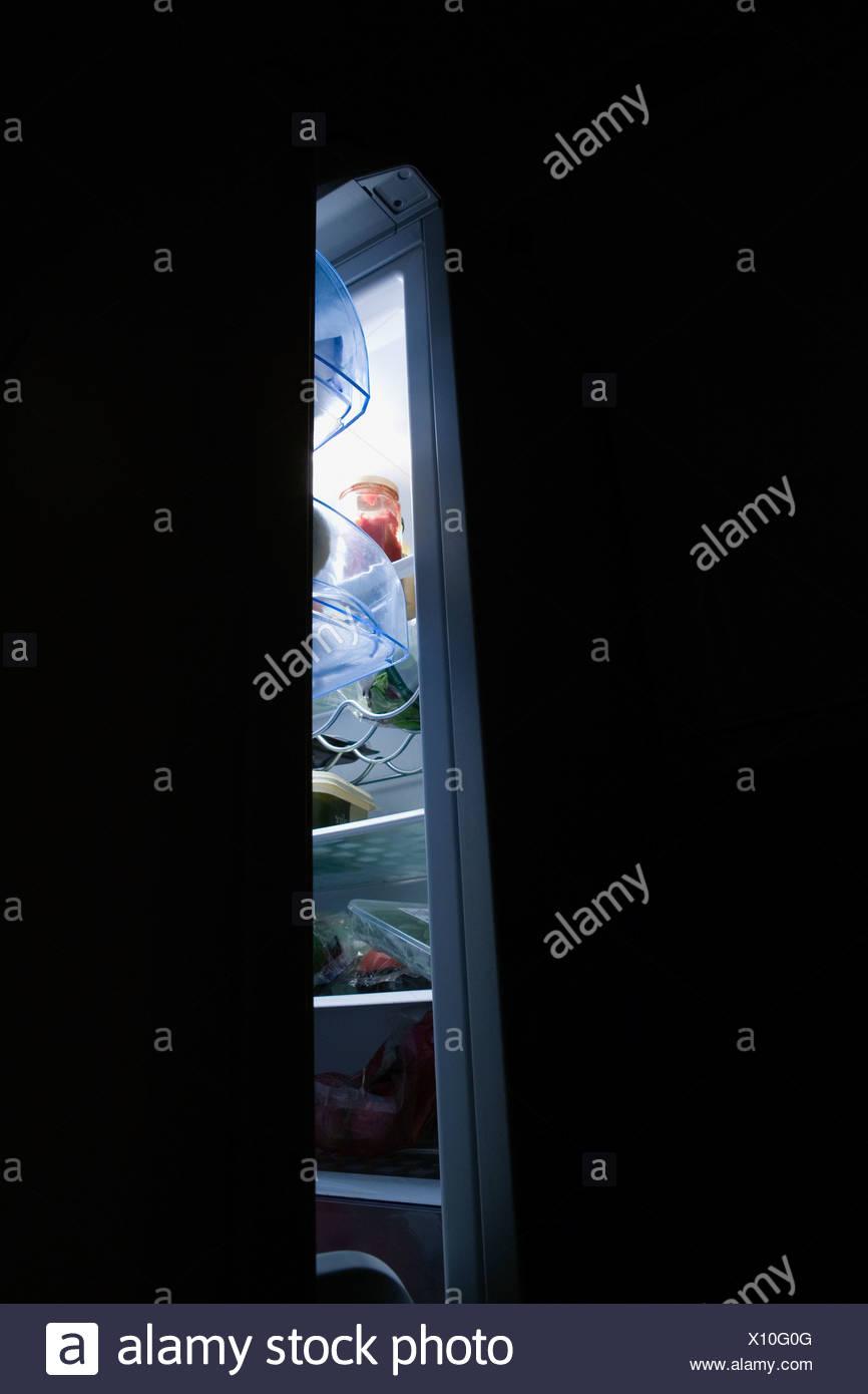 Fridge door open - Stock Image