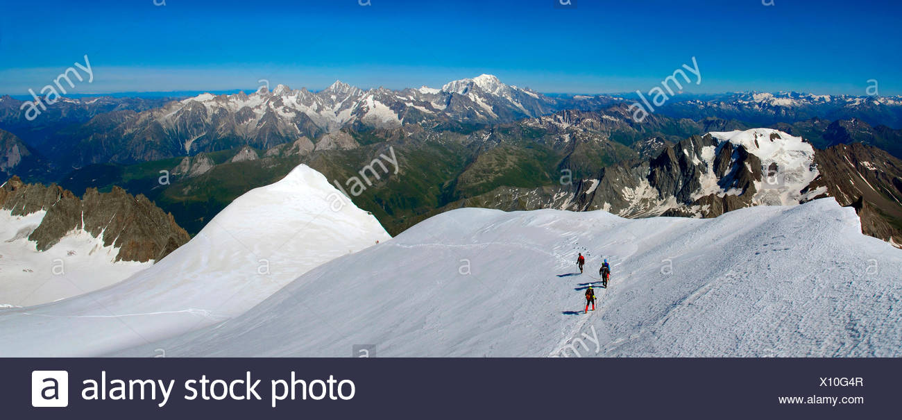 Mountaineers On top of Grand Combin, Aosta valley, Italy,Europe - Stock Image