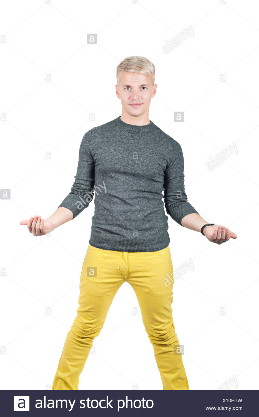Young handsome man holding something - Stock Image