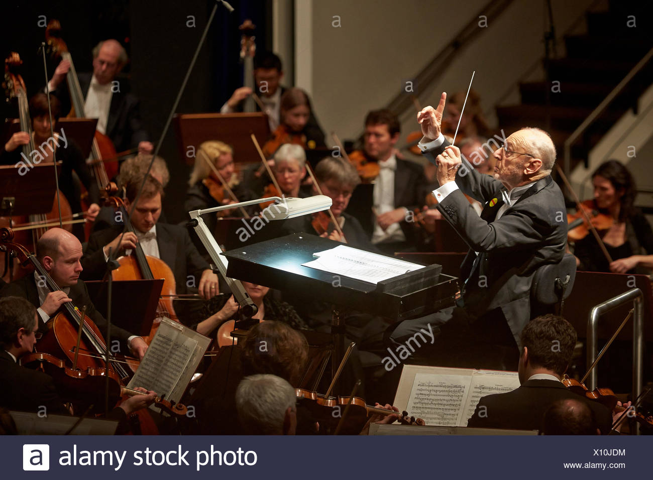SWR Symphony Orchestra Baden-Baden and Freiburg, with conductor Michael Gielen, 6th concert, Music Institute of Koblenz, Koblenz - Stock Image
