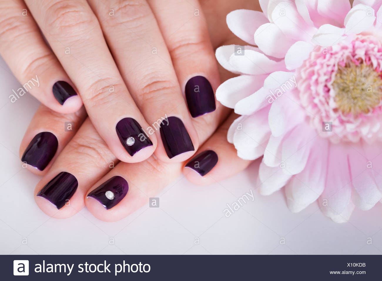 Beautiful manicured nails with purple nail varnish and a tiny ...