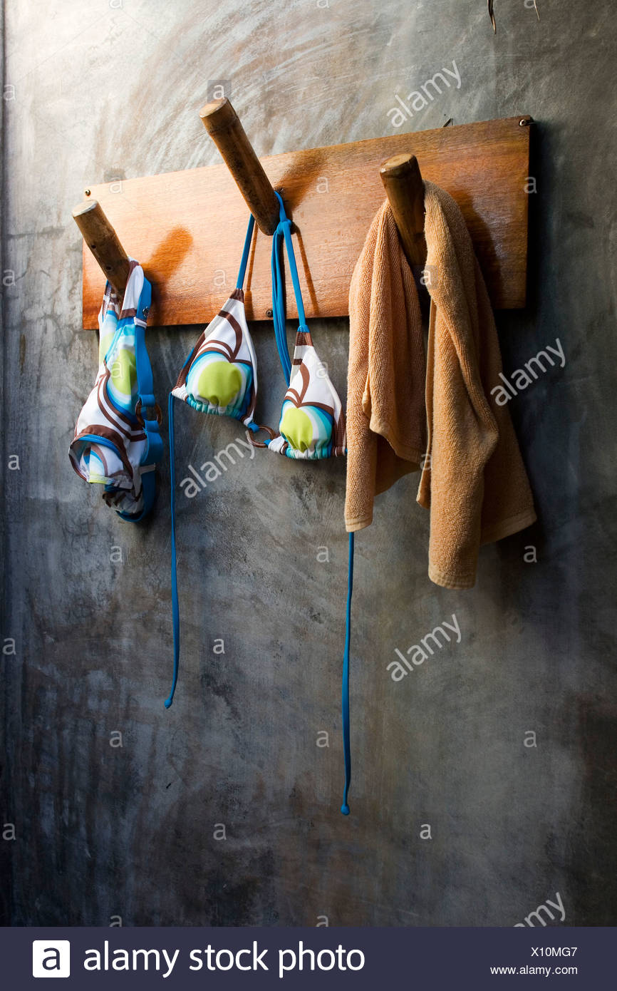 Bikini on coat rack, close up - Stock Image