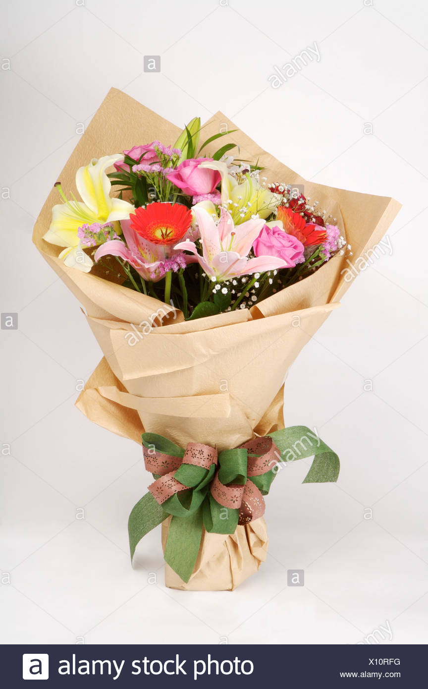 Bouquet Of Flowers Wrapped Stock Photos Bouquet Of Flowers Wrapped