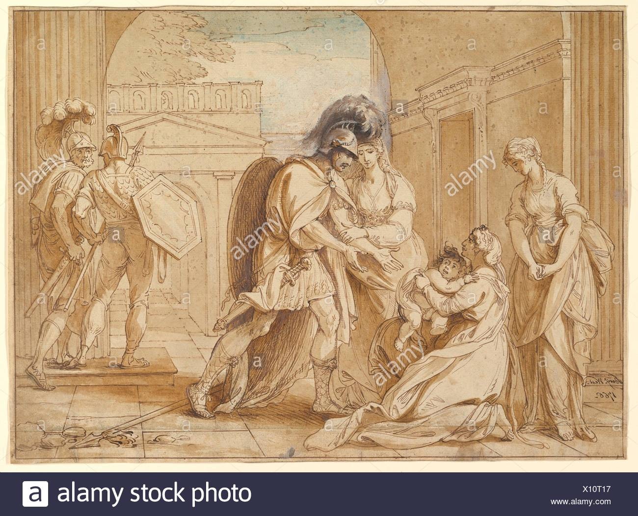 Hector taking leave of Andromache: the Fright of Astyanax. Artist: Benjamin West (American, Swarthmore, Pennsylvania 1738-1820 London); Date: 1766; - Stock Image