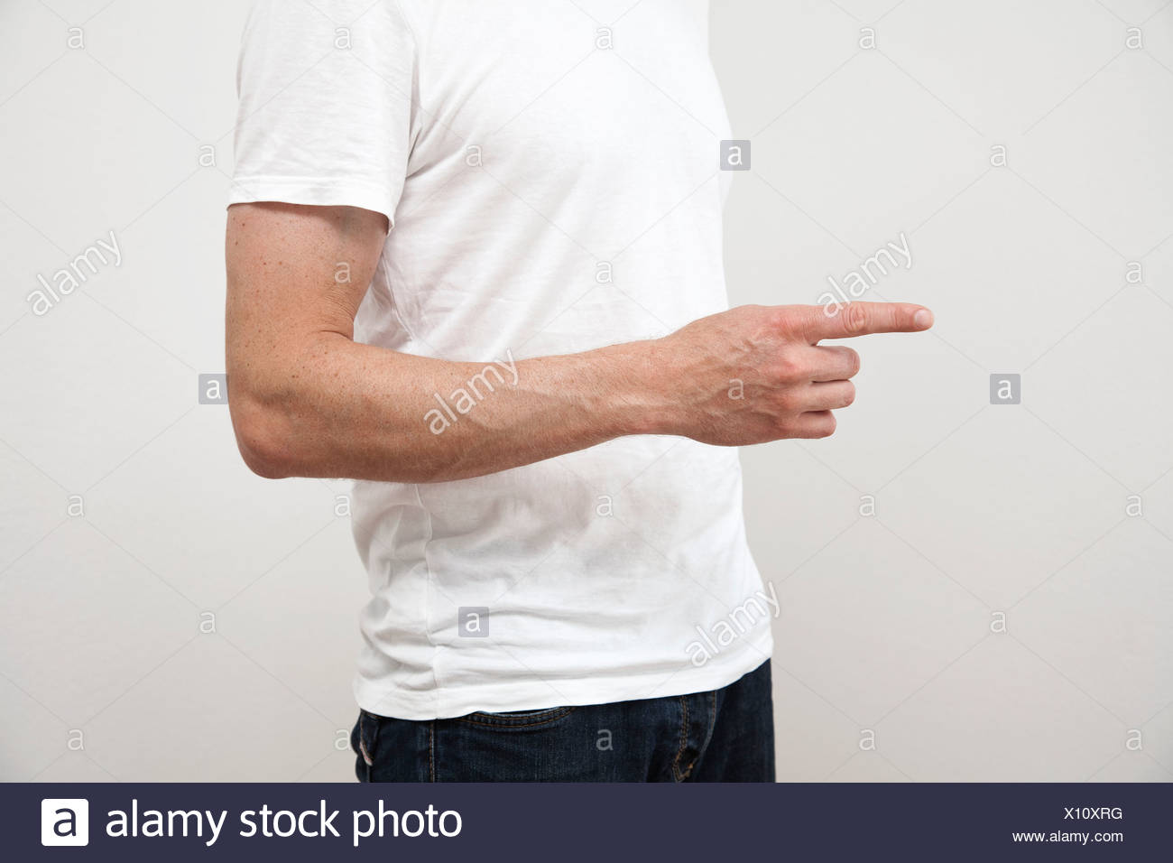 Close up of man's pointing finger - Stock Image