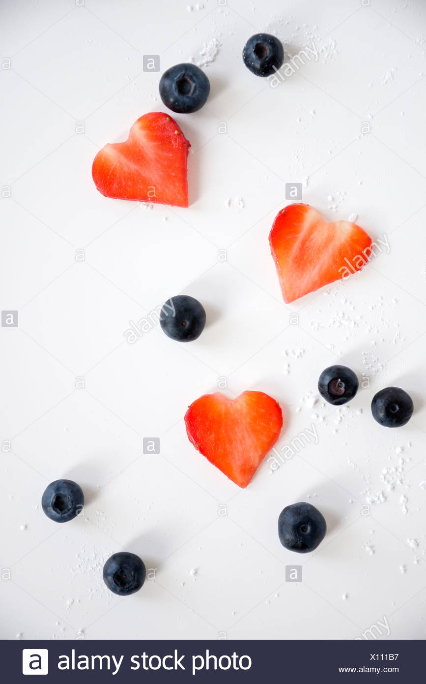 Heart Shaped Strawberries and Blackberries, Munich, Bavaria, Germany, Europe Stock Photo