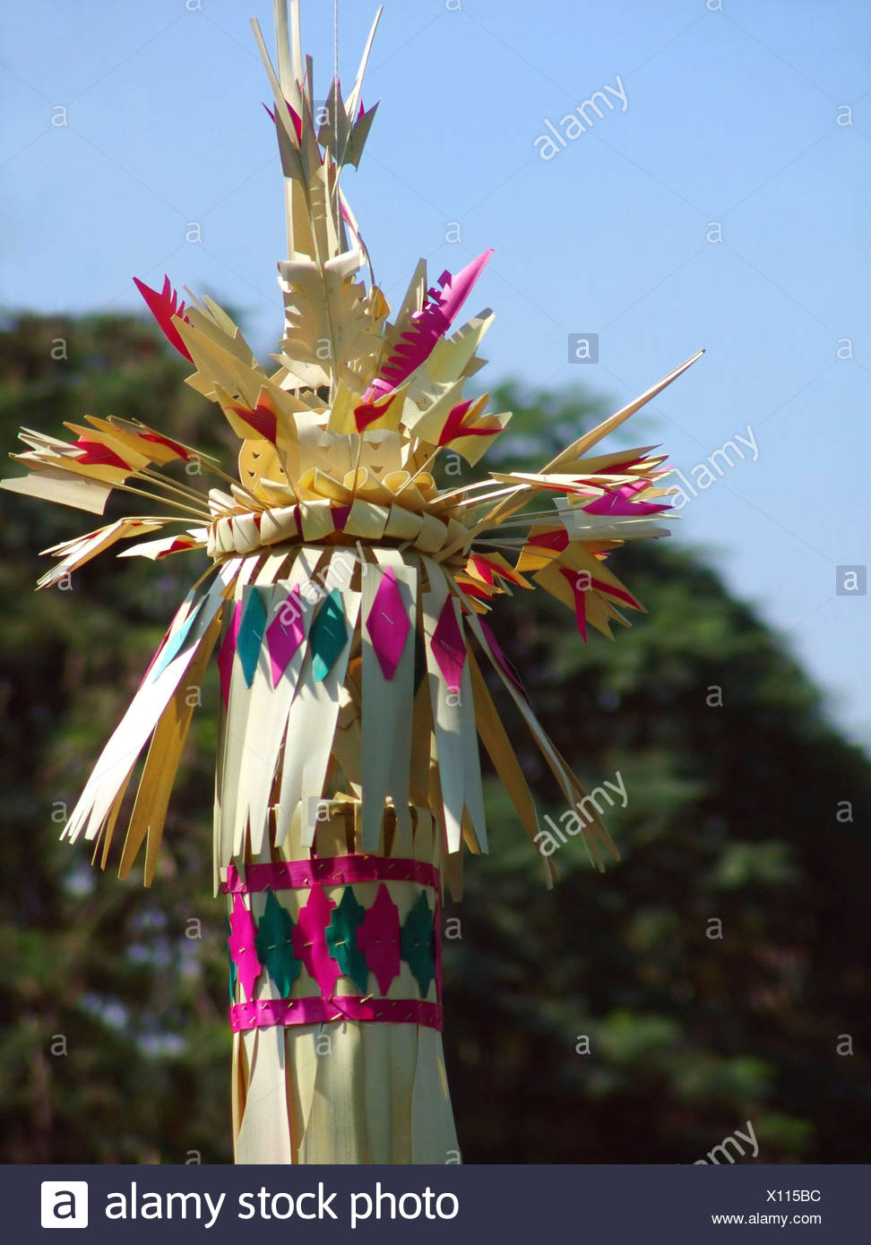 colorful Balinese ceremonial temple decoration, Indonesia, Bali - Stock Image