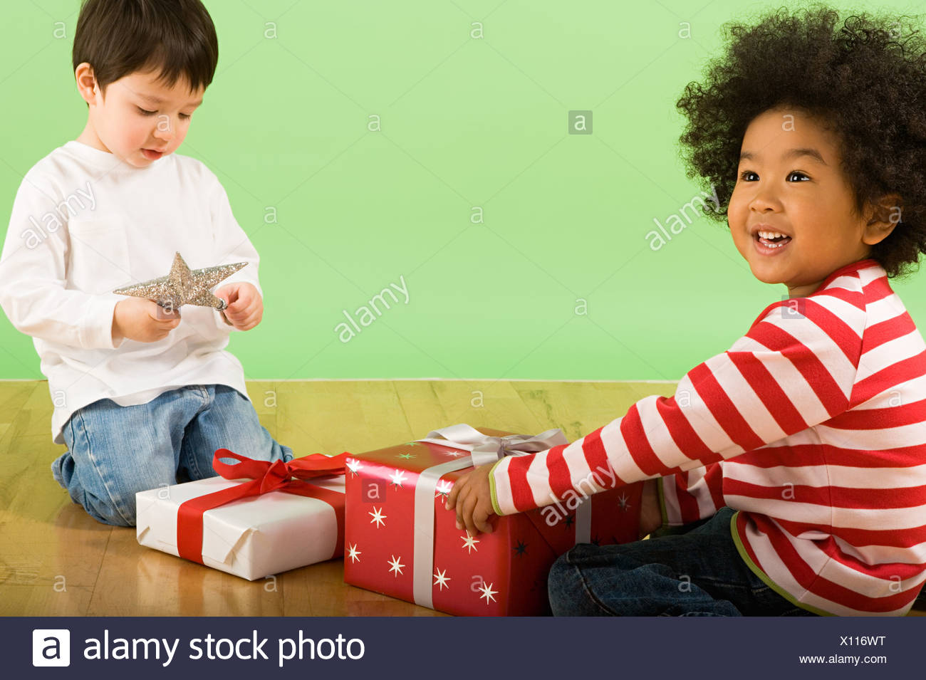 Boys with presents - Stock Image