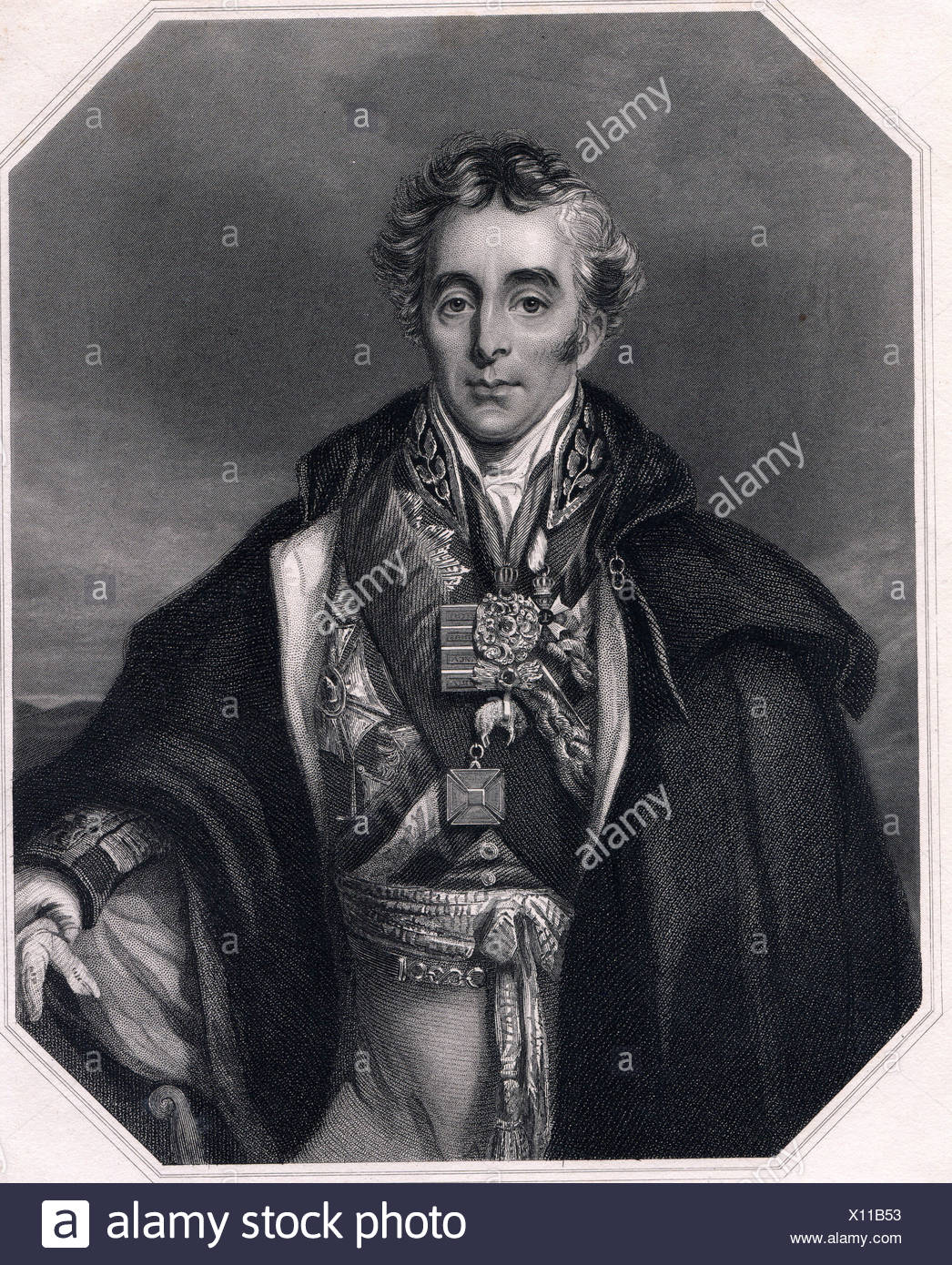 Wellington, Arthur Wellesley, 1st Duke of, 1.5.1769 - 14.9.1852, British field marshal, politician, half length, steel engraving by H. Cook after a drawing by R. Scanlan, 19th century, Artist's Copyright has not to be cleared - Stock Image