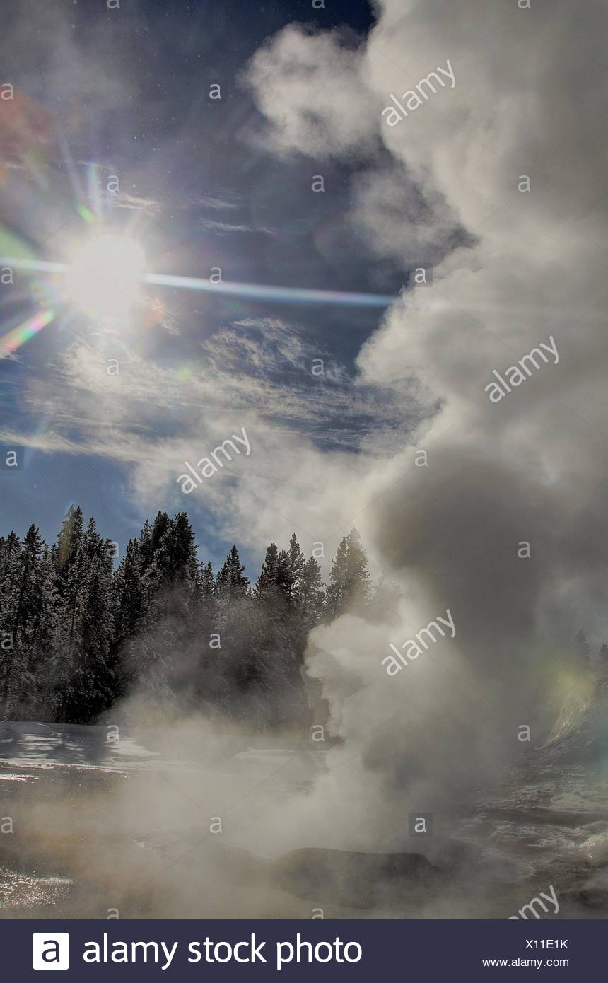 A brilliant sun shines through the steam generated by a geyser at Yellowstone National Park,Wyoming - Stock Image