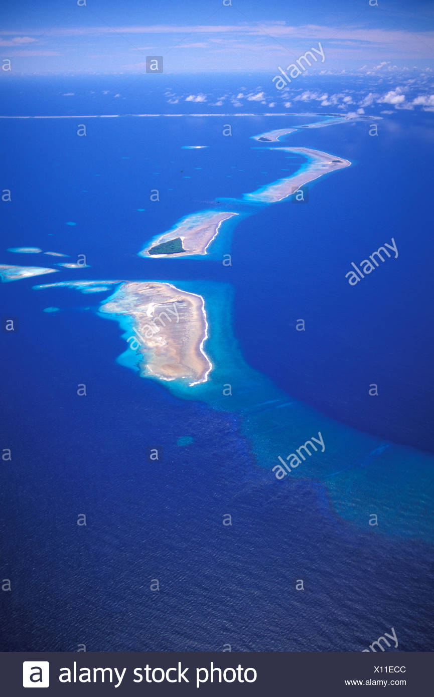 Aerial view of Bikini atoll islands, part of the Marshall islands in the south pacific - Stock Image