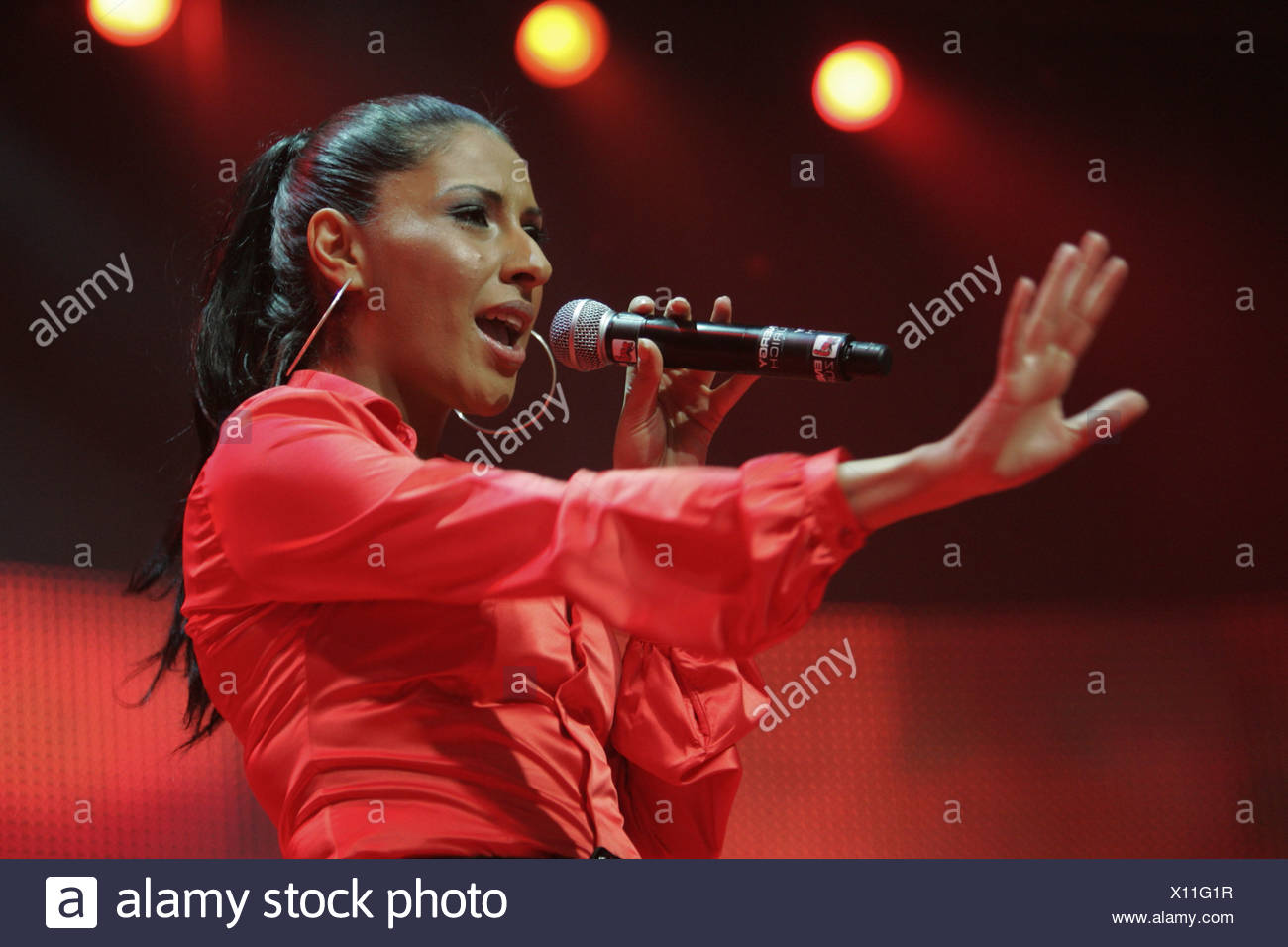 Senna Guemmour, member of the German girlgroup Monrose performing live at Energy Stars For Free at Hallenstadion Zurich, Switze - Stock Image
