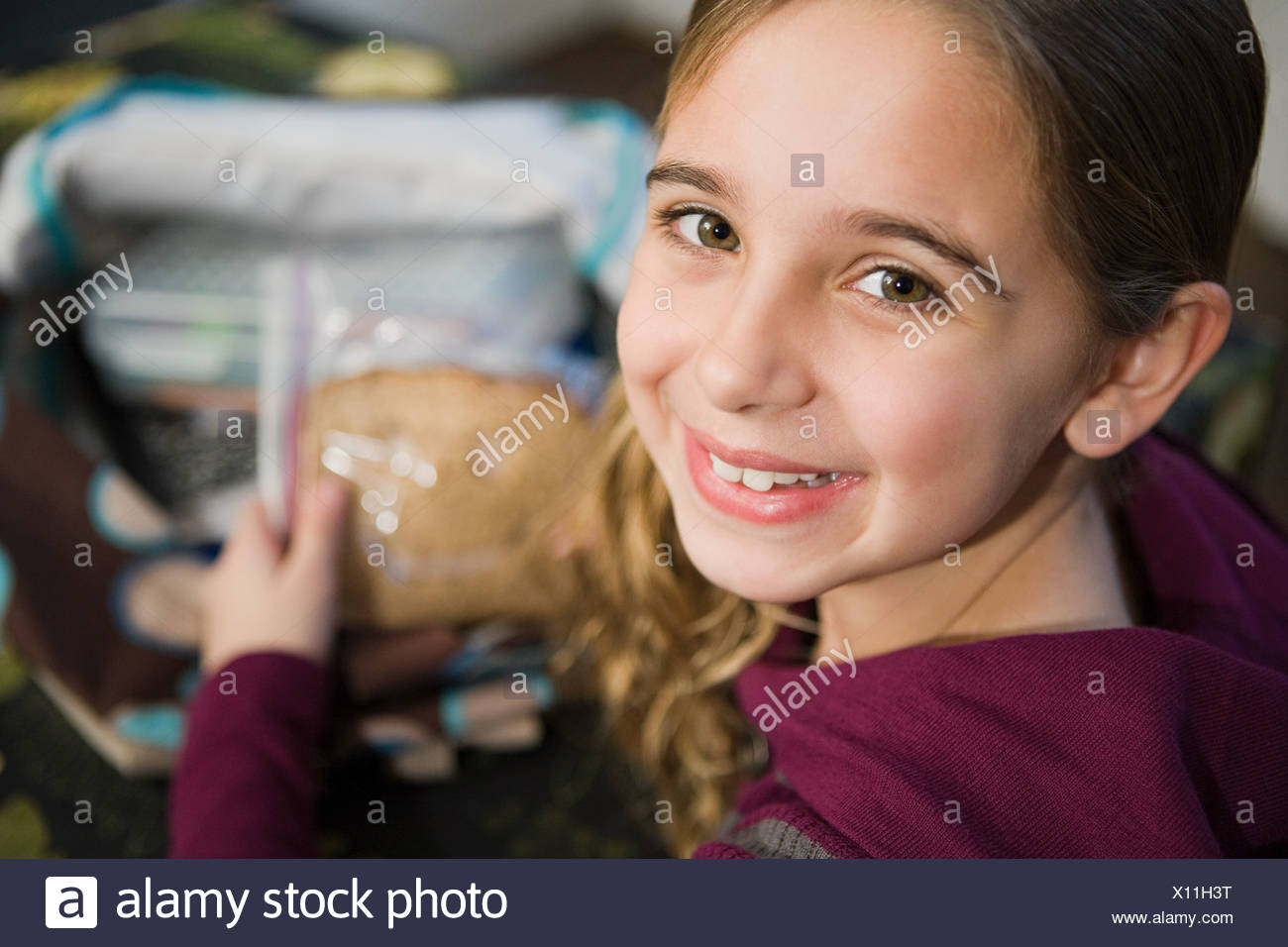 Girl with a sandwich - Stock Image