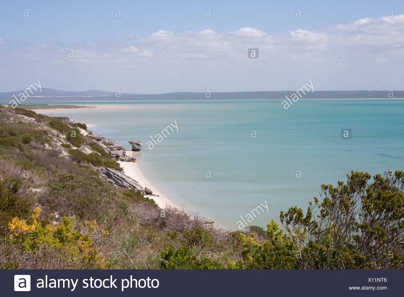 The Preekstoel rock formation on the beach at Kraal Bay in the Langebaan Lagoon near Saldanha Bay, Western Cape, South Africa - Stock Image