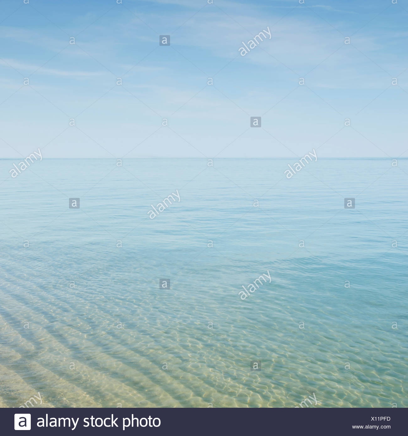 Seascape with transparent water at Cape Cod Stock Photo