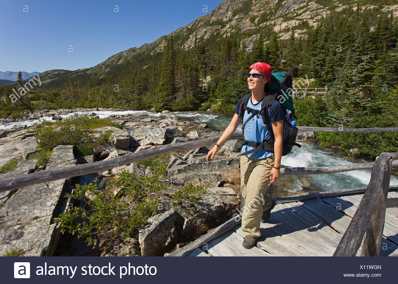 Young woman hiking, backpacking, crossing a wooden bridge, hiker with backpack, historic Chilkoot Pass, Chilkoot Trail - Stock Image