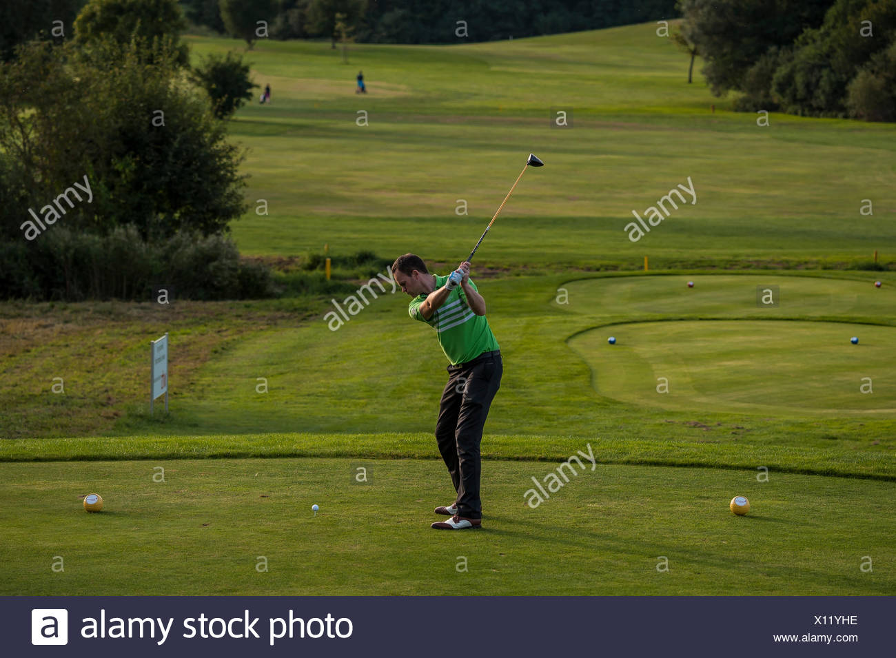 Golfer striking the ball on a golf course, Bavaria, Germany - Stock Image
