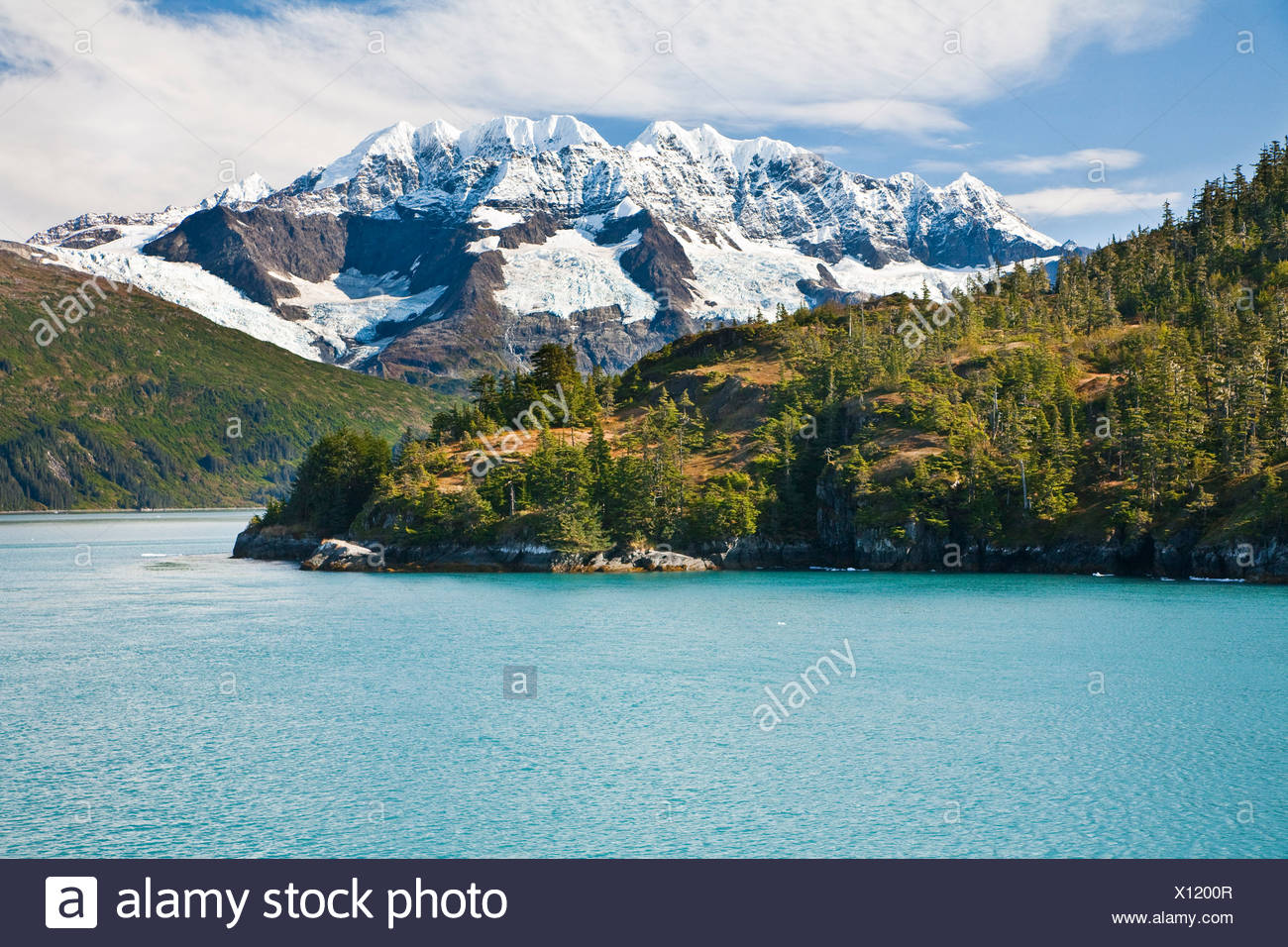 Scenic view of Point Doran and Mt. Muir with glaciers in background, Harriman Fjord, Prince William Sound, Southcentral, Alaska - Stock Image