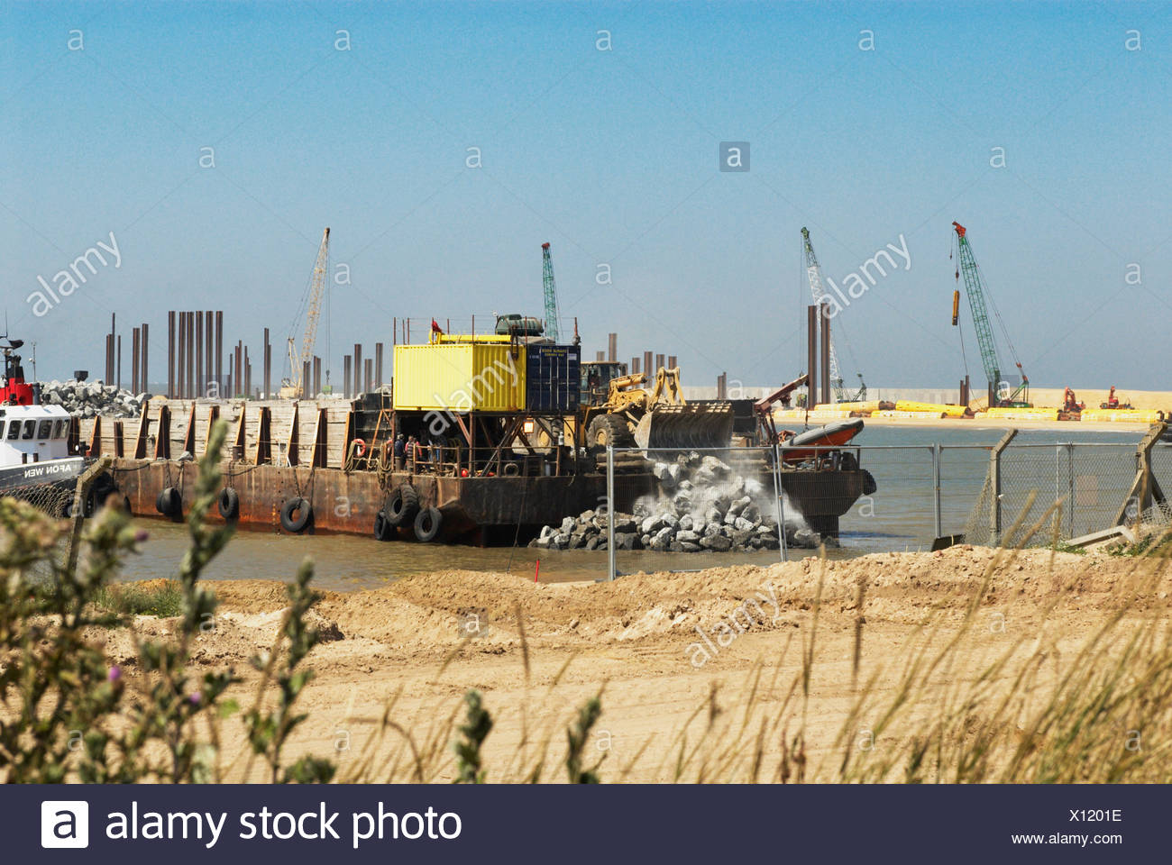 Works taking pace to construct a deep harbour at Great Yarmouth Norfolk UK - Stock Image