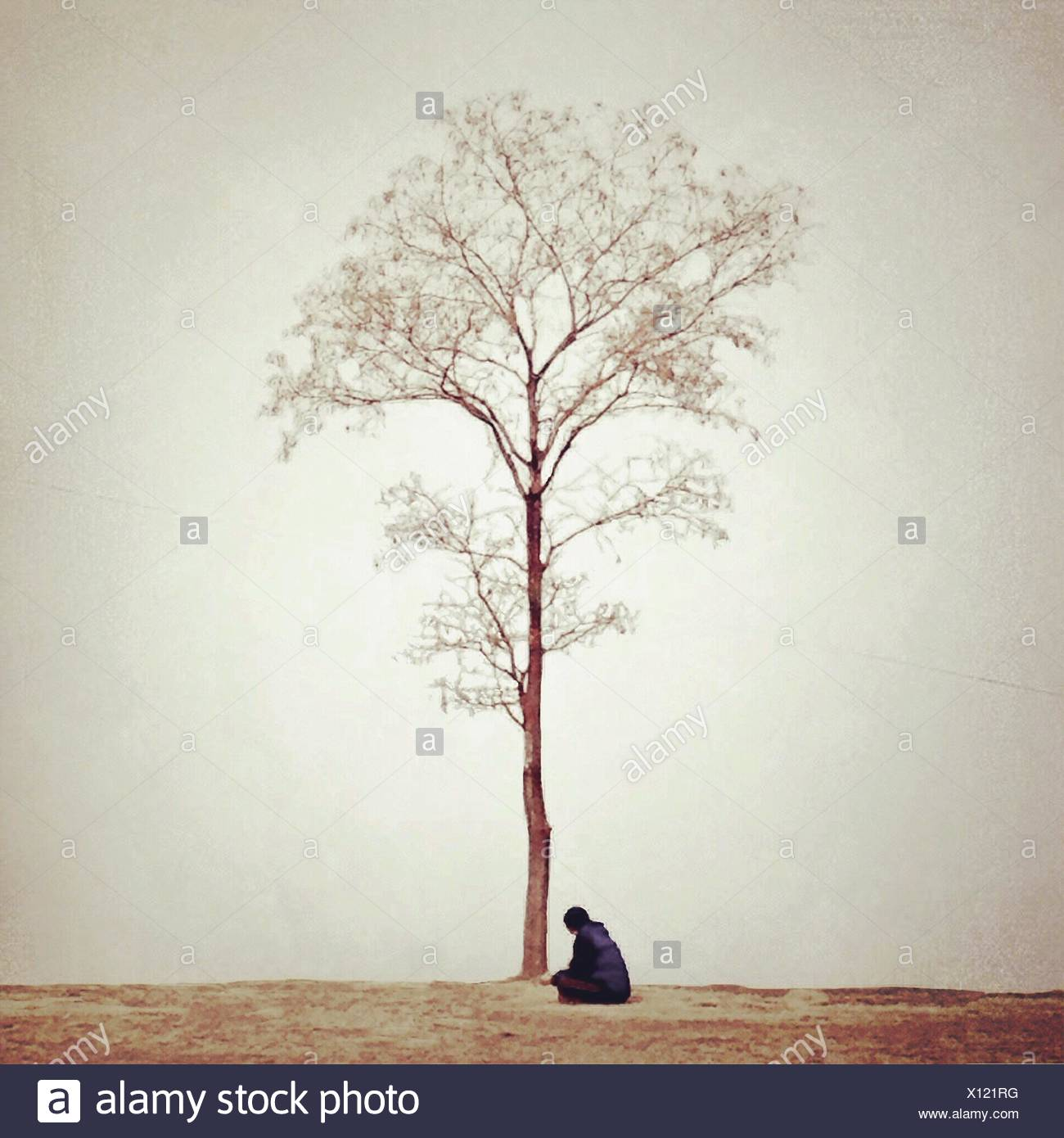 Woman sitting under tree - Stock Image