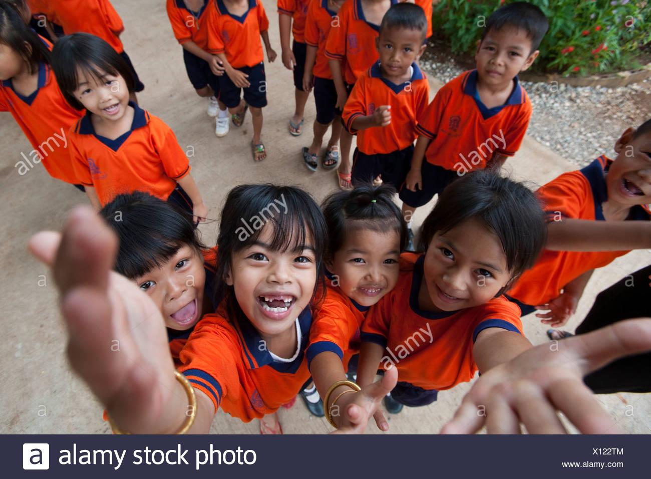 School children in uniform, near Kanchanaburi, Thailand - Stock Image