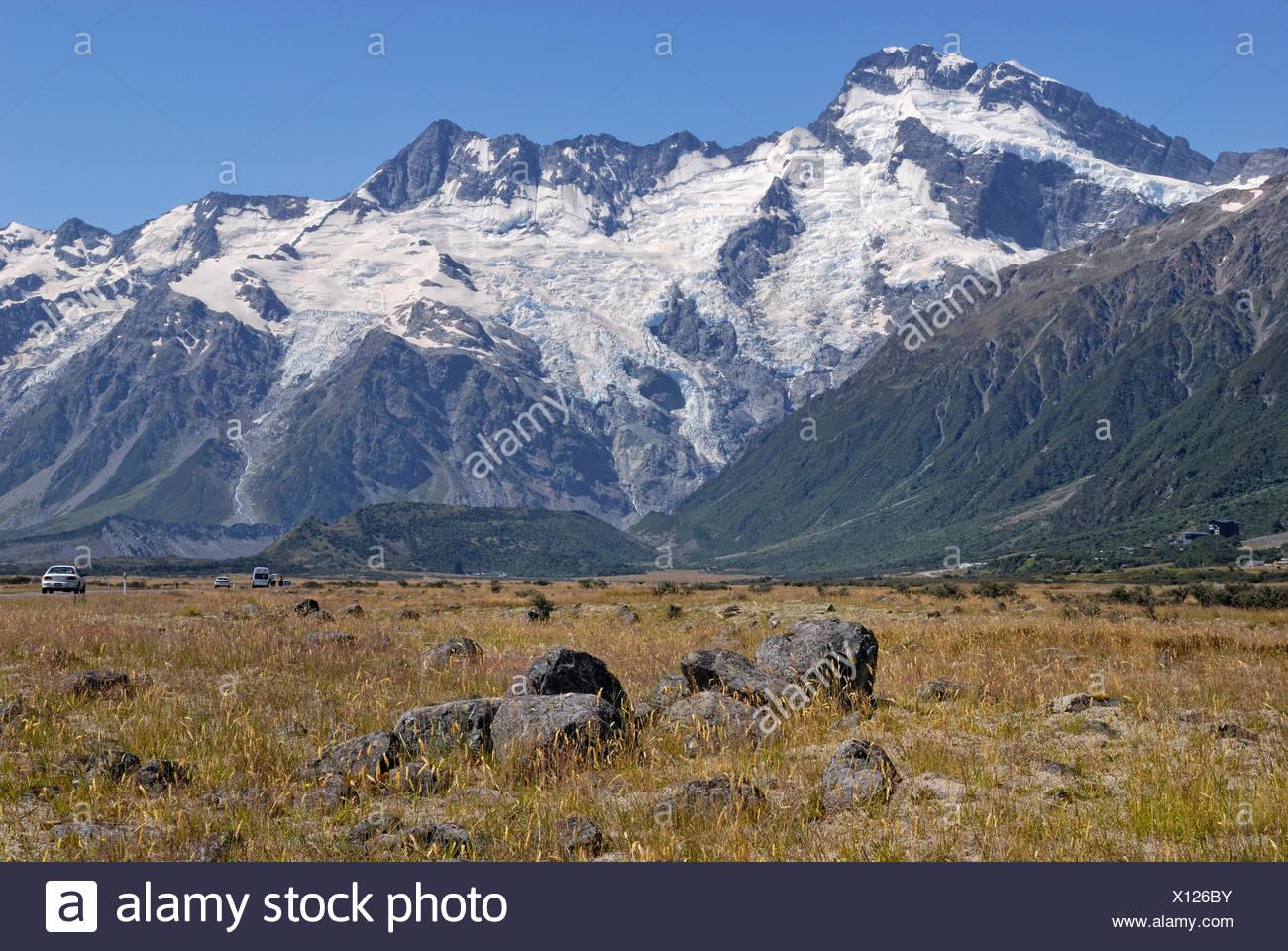 Huddestone Glacier, Stocking Glacier and Mueller Glacier, Mount Cook National Park, South Island, New Zealand - Stock Image