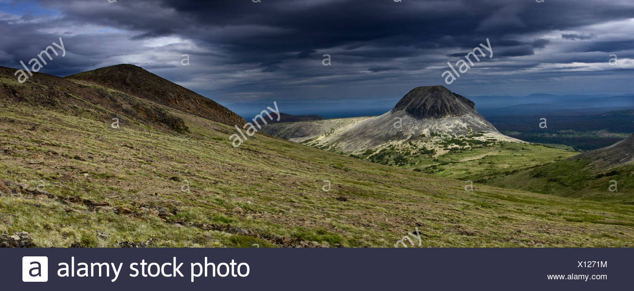 Volcanic cone in the Itcha Mountains in the Chilcotin region of British Columbia Canada - Stock Image