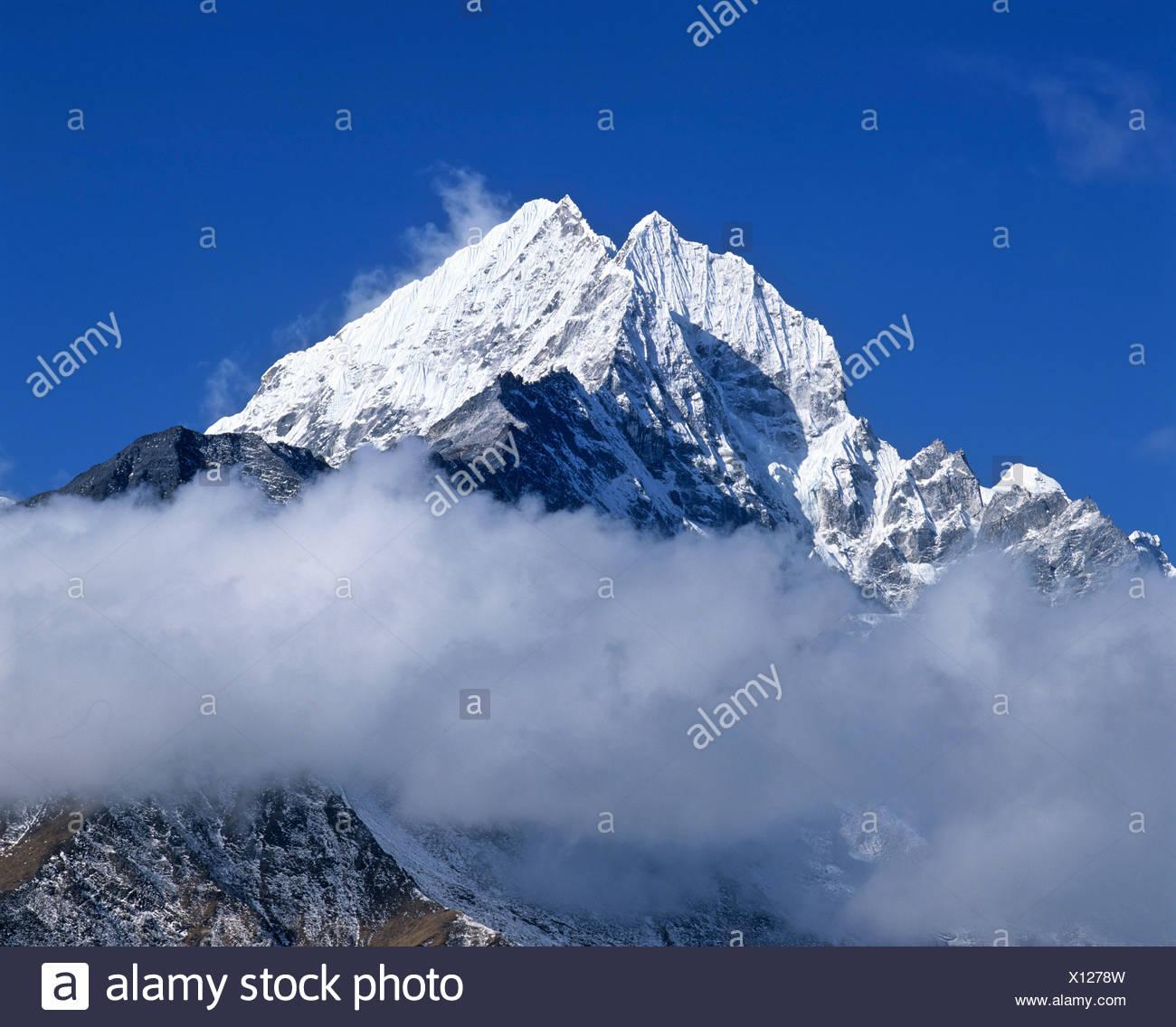 Mount Thamserku, 6632 metres, Khumbu, Himalayas, Nepal, South Asia - Stock Image