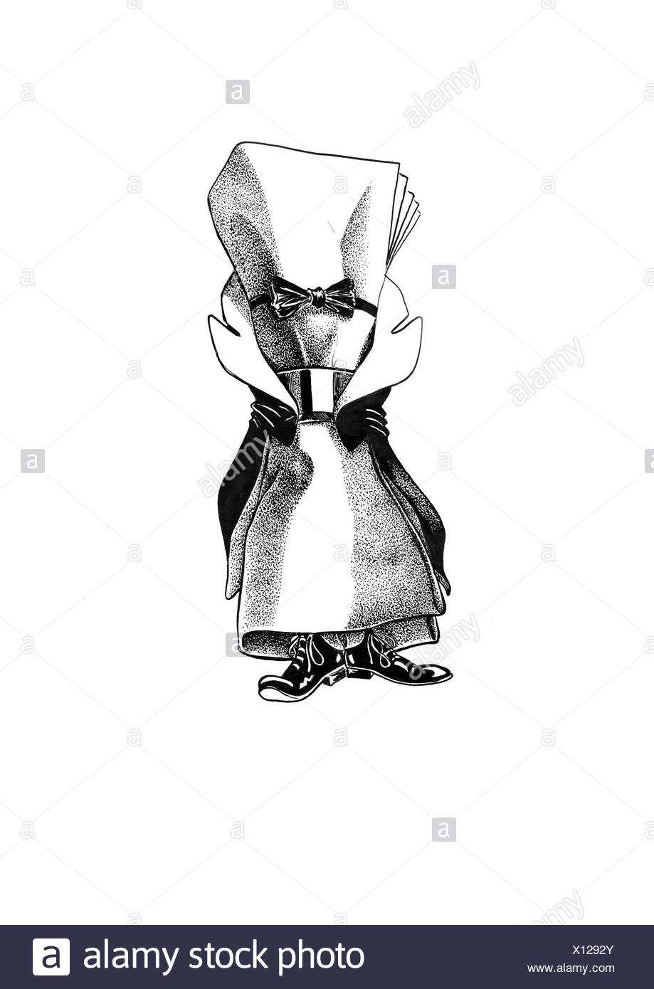 Napkin with ring in tailcoat and bow-tie - Stock Image