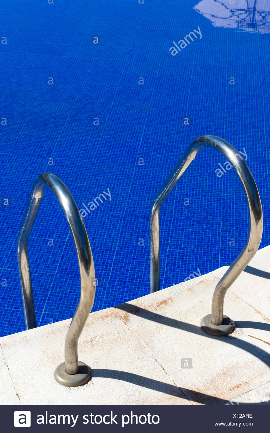 Access to a swimming pool - Stock Image